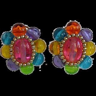 Large Vintage Fruit Salad Lucite Beaded Flower Oval Clip-on Earrings