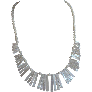 Vintage Hawaiian hand carved Beaded Mother of Pearl Bib Necklace