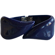 Book Piece Vintage 50's French Dark Blue Lucite Plastic Bypass Hinged Bracelet