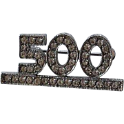 small vintage celebrating 500 years Jubilee pave ice clear rhinestone & silver tone metal high end Brooch Pin