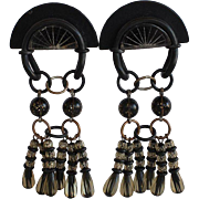 unique vintage designer handcrafted modernist sculptural dimensional Black Rubber & Black Resin & clear plastic with gold glitter inlay statement dangle Clip-on Earrings