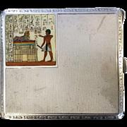 Antique Egyptian Revival Sterling Silver Cigarette case with Enamel Decoration.