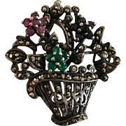 Vintage sterling silver basket pendant, brooch, pin with jewel flowers.