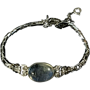 1920's beautiful 14k gold tennis bracelet with Moonstone & diamond decoration.