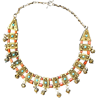 Antique Middle Eastern silver Necklace with corals & turquoise. Gilded.