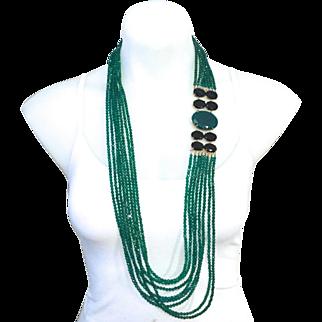 Vintage Bounkit chrysoprase and black onyx necklace. Worn many ways.