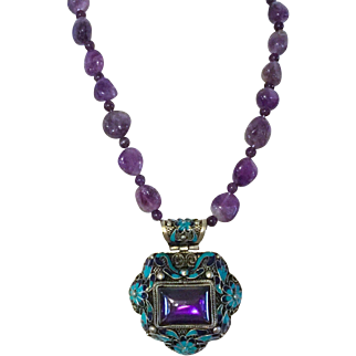 Vintage Chinese necklace with large pendant, decorated with amethyst & turquoise.