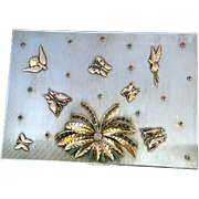 Antique Art Deco French Sterling silver box decorated with 14k gold, emeralds, diamonds & rubies. 826 grams