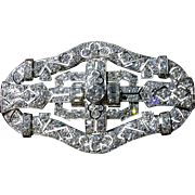 Vintage Art Deco Platinum very large Brooch Pin decorated with over 7.5 CT diamonds.