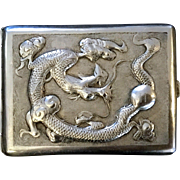 Vintage Chinese sterling silver cigarette case. Handmade.