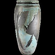 Vintage Robert William Schellin Hand Thrown Pottery Vase, Mid Century Modern, Abstract Design, 12-1/2 inches Tall