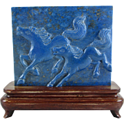 Vintage Chinese Carved Natural Lapis Plaque /Display/Screen of Running Horses on a Fitted Wood Stand