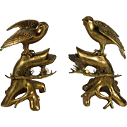 Pair Of Asian Gilt Bronze Censers With Hawks On Trees