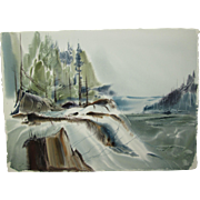 "Laurence Sisson Painting, Damariscotta, Maine Watercolor, Titled ""Snow at Damariscotta"", 22-1/4 x 30-3/4 inches"