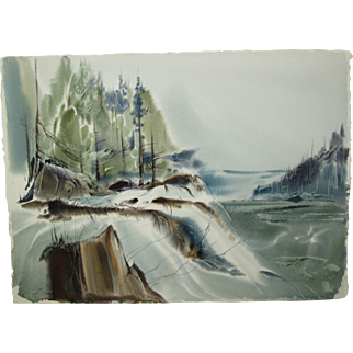 """Laurence Sisson Painting, Damariscotta, Maine Watercolor, Titled """"Snow at Damariscotta"""", 22-1/4 x 30-3/4 inches"""