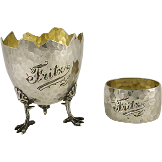 German .800 Silver Hand Hammered Egg Cup with Chicken Legs and Napkin Ring Set