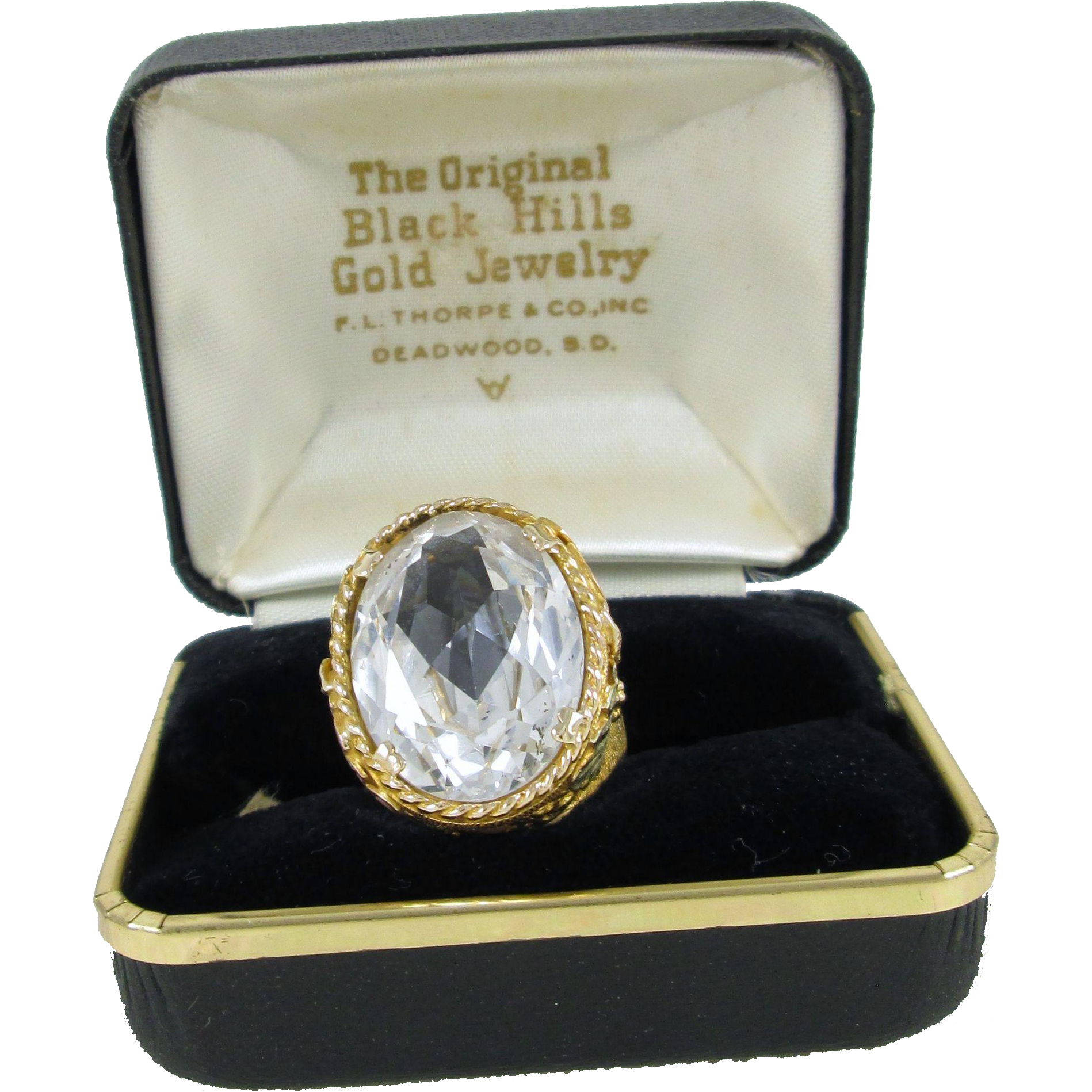 Black Hills Gold Ring with a Faceted Synthetic Oval Stone, Grapes, Leaves, Green, Pink, and Yellow Gold, 10K, F.L. Thorpe & Co., Deadwood, South Dakota, Size 7-1/4, 14.2 grams