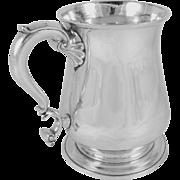 Antique Thomas Whipham, London, Sterling Silver Tankard / Mug, George II, 1747, Monogram on Handle Top