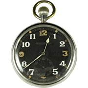 Vintage Mens Jaeger LeCoultre British Military Pocket Watch, Swiss Made, WWII, Runs Well, circa 1940