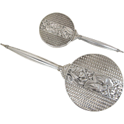 Vintage Napier Art Deco Sterling Silver Hand Mirror and Brush Set