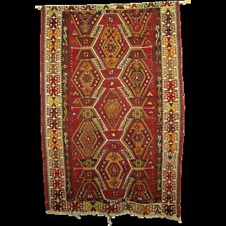 Vintage Turkish Anatolian Kiliam Woven Textile, Rug, Geometric Red, Orange and Yellow Pattern, 43 x 65 inches
