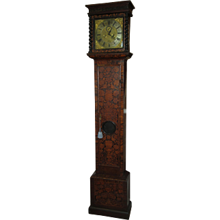 Antique Longcase Grandfather London Clock with Marquetry, circa 1700