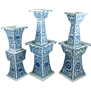 Set of 3 Chinese Candle Stands, Blue and White Porcelain, Ceremony / Wedding Altar Pieces