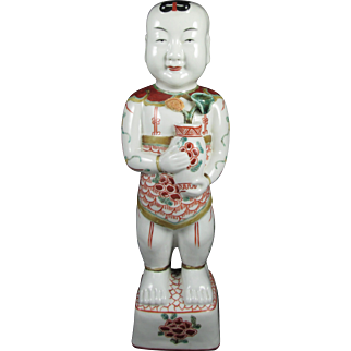 Antique 19th Century Chinese Porcelain Ho Ho Boy Figurine in Wacai Glaze, 11 inches Tall