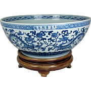 Large Chinese Blue and White Porcelain Bowl with Dragon Design and Wood Display Stand