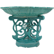 Antique 19th Century 2 Piece Chinese Turquoise Porcelain Altar tazza For Fruit