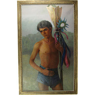 """Vintage Framed and Signed Manuel Acosta Oil on Canvas Painting """"The Penny Catcher II"""", 34-1/2 inches Wide, 54-1/2 inches Tall, circa 1967, El Paso, Mexico"""