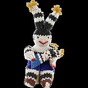 Zuni Beaded Seated Koshare Storyteller Doll with Child Koshare