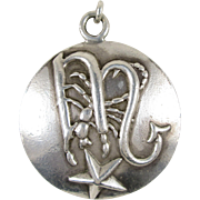 Vintage Margot De Taxco Sterling Silver Scorpio Pendant / Charm, Model Number 5281