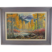 "Taos, New Mexico Artist Ben Turner Oil on Canvas Landscape Painting ""Colorado Aspen"", Signed and Framed, 39 inches Wide and 29 inches Tall"