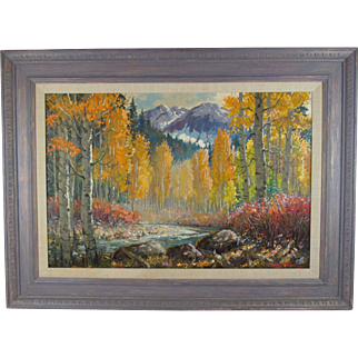 """Taos, New Mexico Artist Ben Turner Oil on Canvas Landscape Painting """"Colorado Aspen"""", Signed and Framed, 39 inches Wide and 29 inches Tall"""