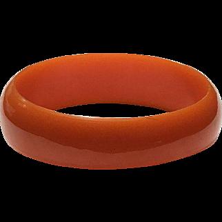 Deep Orange Bakelite Bangle, Vintage 1950s Bakelite Bracelet