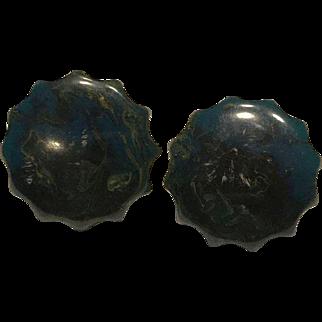 Blue Moon Bakelite Clip Earrings