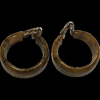 Mississippi Mud Bakelite Hoop Earrings, Clip Backs