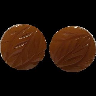 Orange Carved Bakelite Earrings, Screw Back