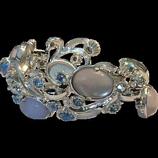 Vintage Signed SELRO Bracelet with Faux Moonstones and Aurora Borealis Rhinestones