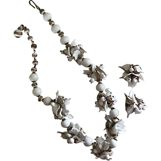 Rare Venetian Glass Jewelry Set, White Glass Doves with Gilded Accents, Necklace and Earring Demi Parure
