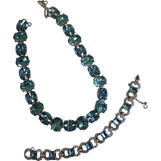Vintage Signed 1950s Joseph Wiesner NY Aqua Rhinestone Necklace and Bracelet Demi Parure