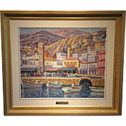 """""""Hydra Waterfront"""",  Signed Manos Rovithis Original Oil on Canvas."""
