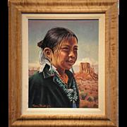 """Navajo Girl (Carol Begay) In Monument Valley (1994)-Signed Tom Phillips- Original Oil on Board"