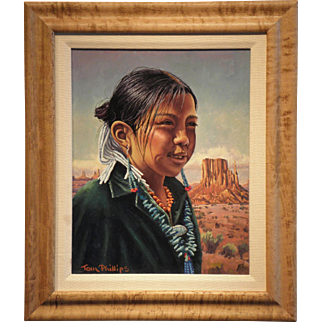 """Navajo Girl (Carol Begay) In Monument Valley (1994)-Signed Tom Phillips- Original Oil on Board"