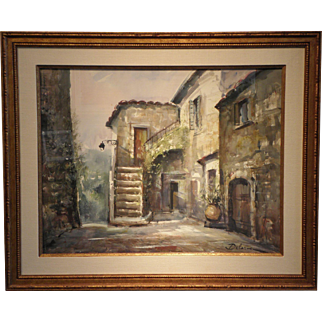 """Paris Street Scene"" -Signed Delarue-Watercolor on Paper"