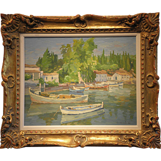 """Harbor Scene""- Signed Manos Rovithis 92- Original Oil on Linen"