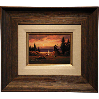 """Camp Sunset""- Signed- Heine Hartwig-Original Oil on Board"