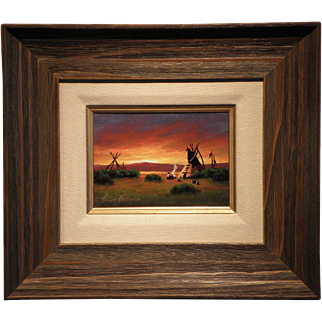 """Indian Encampment""- Signed Heine Hartwig- Original Oil on Board"