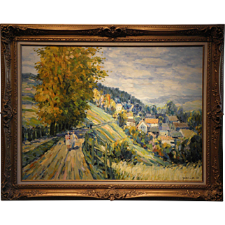 """European Landscape""- Signed Malva- Original Oil on Linen"